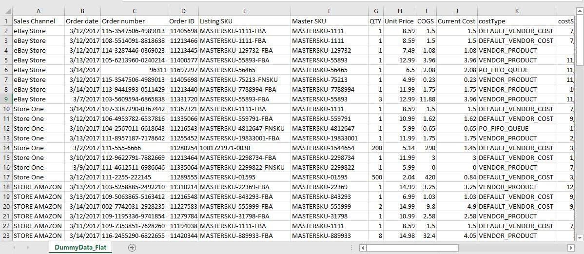 StoreReport Export Flat Data